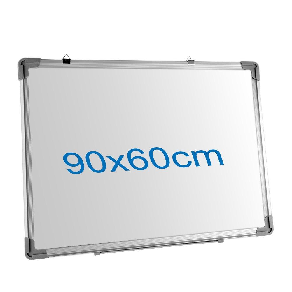 S SIENOC 60x40cm Kombinations notizbrett Whiteboard Magnetwand mit Alurahmen Magnetisch Whiteboard und Magnettafel Pinnwand Wei/ß lackiert