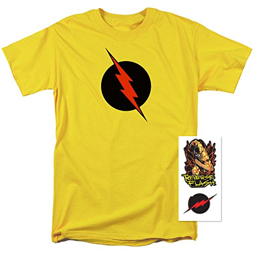 DC Comics Reverse Flash T Shirt and Exclusive Stickers (Large) (Flash Reverse T-shirt)
