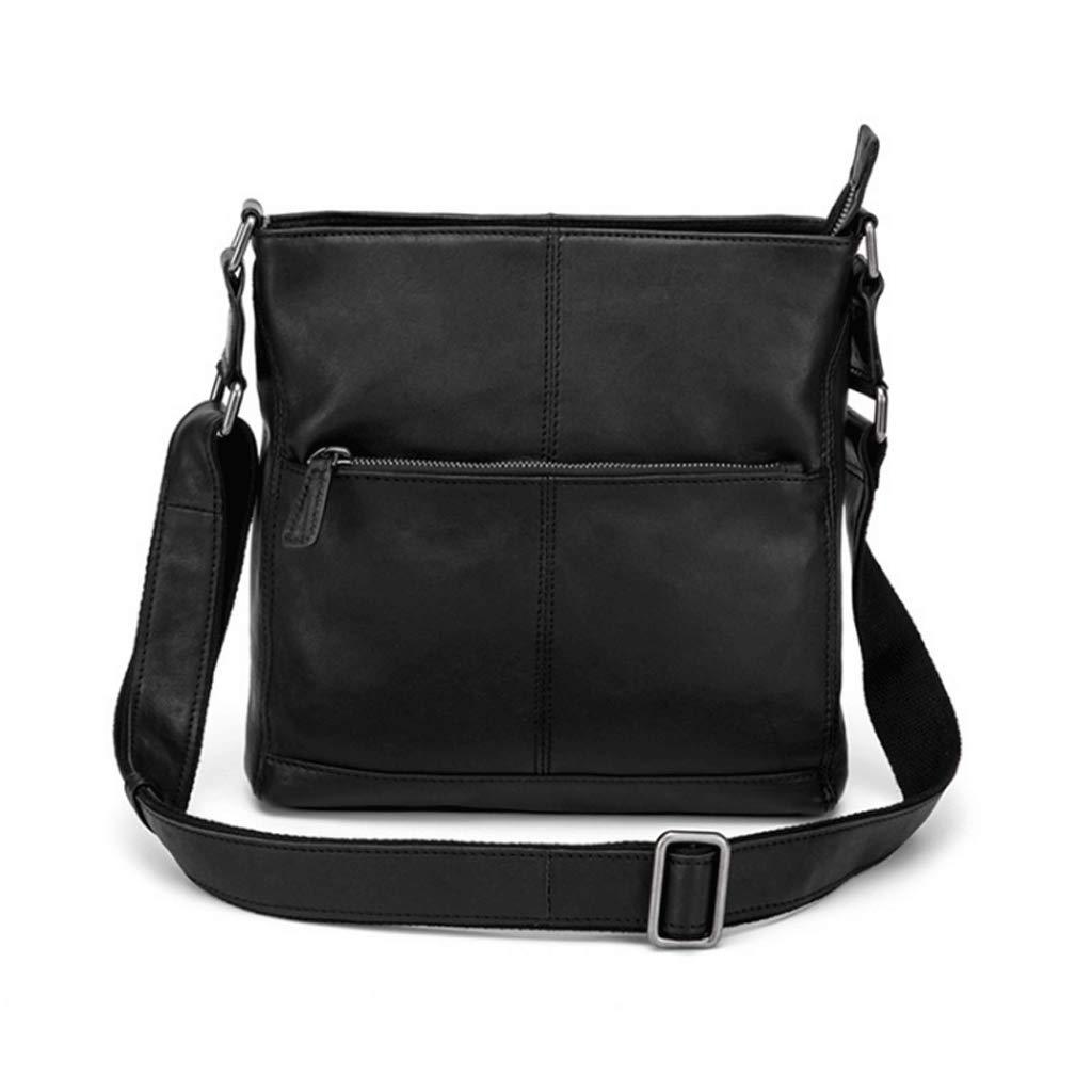 メッセンジャーバッグ メンズ レトロレザー カジュアル スクエア S ブラック Small ブラック B07H8BNT1T
