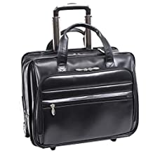 "McKlein Midtown Leather Wheeled Laptop Briefcase, 15.6"", Black (87865)"