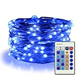ER CHEN Blue Fairy Lights Plug In, 33ft 100 LED Starry String Lights Dimmable with Remote Control, Waterproof Copper Wire Christmas Decorative Lights for Bedroom, Patio, Garden, Yard, Party