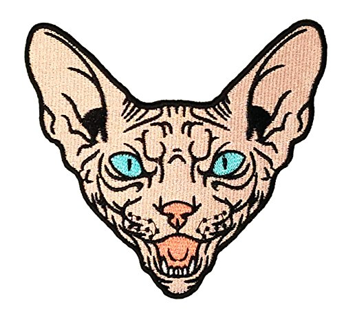 Angry Tan Sphynx Cat Sew-On Embroidery Patch - 4X4