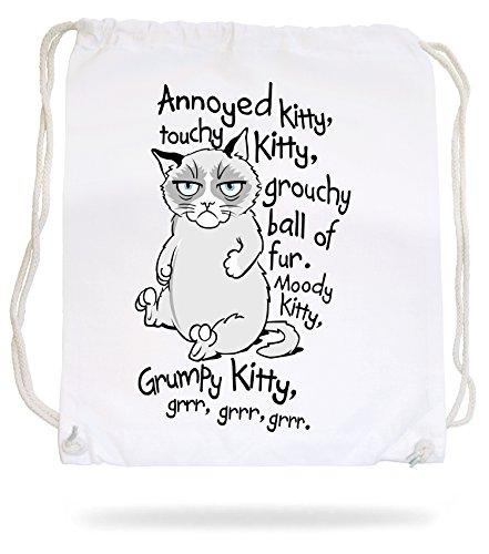 Scontroso Gattino Morbido Kitty Gymsack Bianco Maniaco