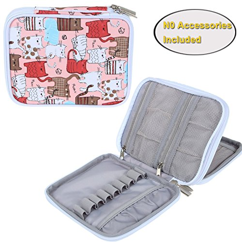 Teamoy Crochet Hook Case, Organizer Zipper Bag with Web Pockets for Various Crochet Needles and Knitting Accessories, Well Made, Small Volume and Easy to Carry, Cats Pink(No Accessories Included)
