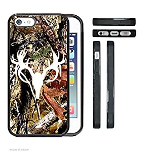 Accy Cases - Real Tree Camo Buck White Camo Head iPhone 5 5s Rubber Silicone TPU Cell Phone Case