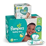 Diapers Size 5, 164 Count and Baby Wipes - Pampers Baby Dry Disposable Baby Diapers, ONE MONTH SUPPLY with Baby Wipes Sensitive 6X Pop-Top Packs, 336 Count