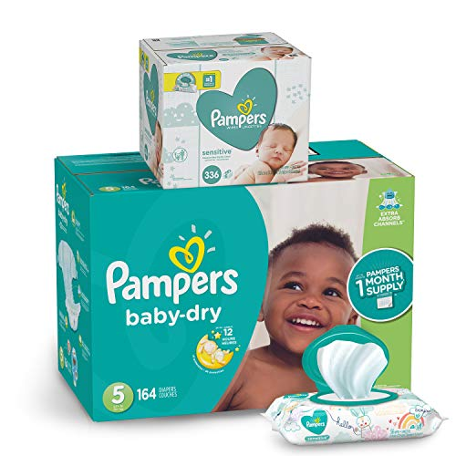 Pampers Diapers Size 5 - Baby Dry Disposable Baby Diapers, 164 Count ONE MONTH SUPPLY with Baby Wipes Sensitive 6X Pop-Top Packs, 336 Count