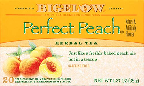 Celestial Seasonings Peach Tea - Bigelow Perfect Peach Herbal Tea 20 Bags (Pack of 6) Caffeine-Free Individual Herbal Tisane Bags, for Hot Tea or Iced Tea, Drink Plain or Sweetened with Honey or Sugar