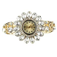 Ht Jewelry Alloy White Crystal Waist Watch 24k Gold Filled B007 58x46mm