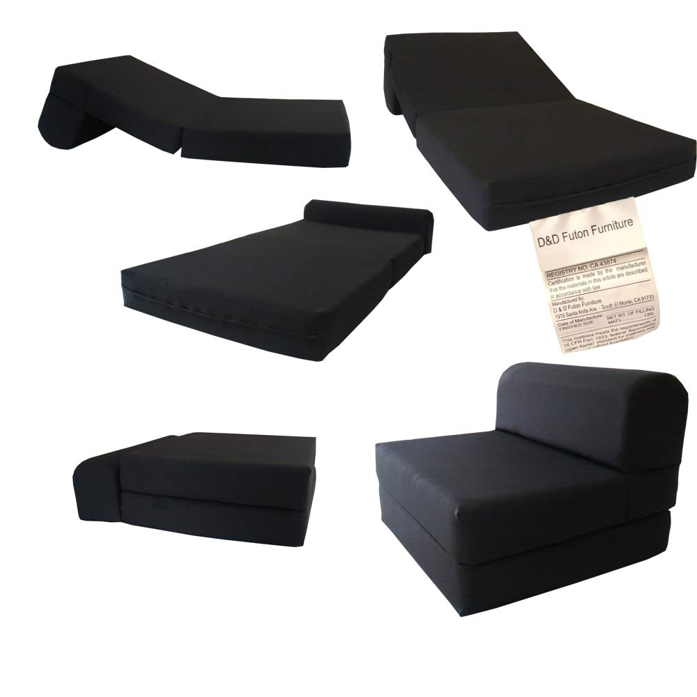 D&D Futon Furniture Black Sleeper Chair