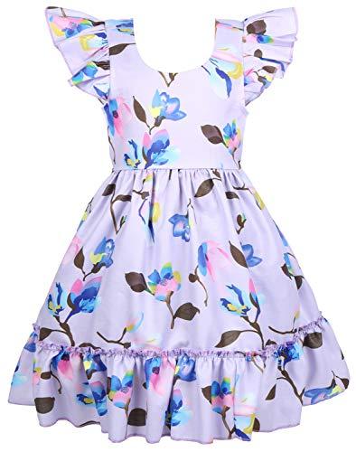 Angel&tribe Girl Short Sleeve Printed Dress Casual T-Shirt Nightgown Cartoon Dinosaur 100% Cotton Gray 3T