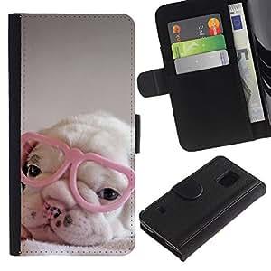 A-type (Puppy Pink Cute Sweet Heart Glasses) Colorida Impresión Funda Cuero Monedero Caja Bolsa Cubierta Caja Piel Card Slots Para Samsung Galaxy S5 V SM-G900