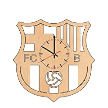FC Barcelona natural wood wall clock - Get unique home room, office wall decor - Gift ideas for boyfriend, men and boys - Unique SOCCER CLUB art design - Leave us a feedback and win your custom clock