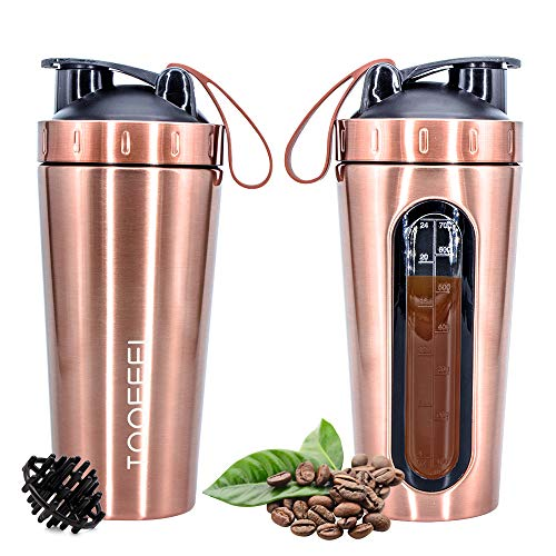 TOOFEEL Protein Shaker Bottle, Stainless Steel Sports Water Bottle Shaker Cup with Visible Window, Leak Proof, 28-Ounce, BPA Free