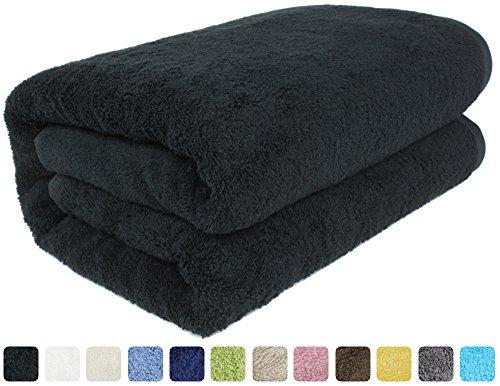 SALBAKOS Luxury Spa 100% Combed Turkish Cotton Large Oversized Eco-Friendly Bath Sheet 40 x 80 Inch, Black