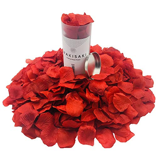 WAKISAKI (Separated, Deodorized) Artificial Fake Rose Petals for Romantic Night, Wedding, Event, Party, Decoration, in Bulk (1000 Count, Dark Red) -