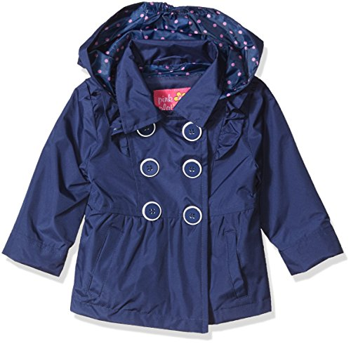 Pink Platinum Baby Girls Ruffled Trench Coat, Navy 24M