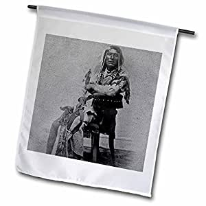 Scenes from the Past Vintage Stereoviews - 1870 Portrait of Native American Son of Washikee Stereoview Black and White - 12 x 18 inch Garden Flag (fl_77371_1)
