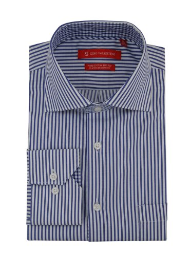 Gino Valentino Mens Dress Shirt Cotton Spread Collar White Blue Striped (17.5