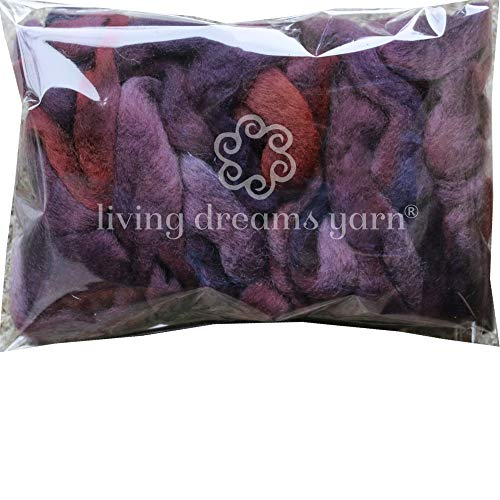 Wool Roving Hand Dyed. Super Soft BFL Combed Top Pre-Drafted for Easy Hand Spinning. Artisanal Craft Fiber ideal for Felting, Weaving, Wall Hangings and Embellishments. 1 Ounce. Plum