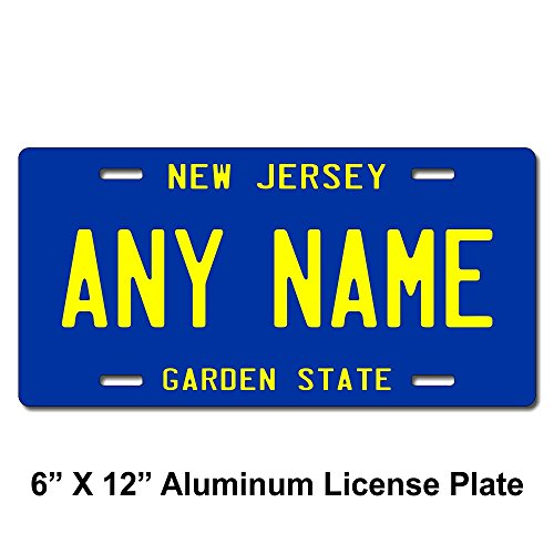 TEAMLOGO Personalized New Jersey License Plate - Sizes for Kid's Bikes, Cars, Trucks, Cart, Key Rings Version 3 (6 X 12 Aluminum License Plate)