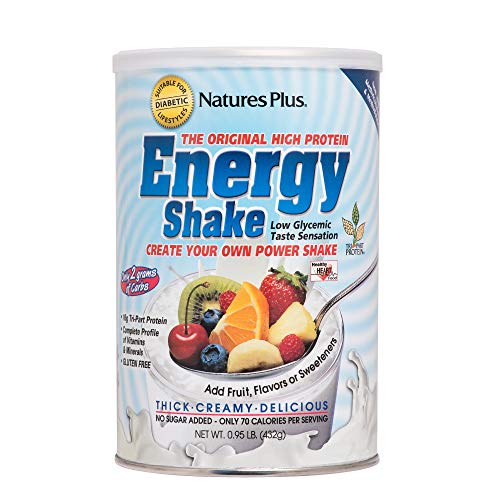 Natures Plus Energy The Universal Protein Shake - 15 oz - Plant Based Meal Replacement, Vitamins, Minerals for Energy - Flavor Neutral - Vegetarian, Gluten Free - 16 Servings