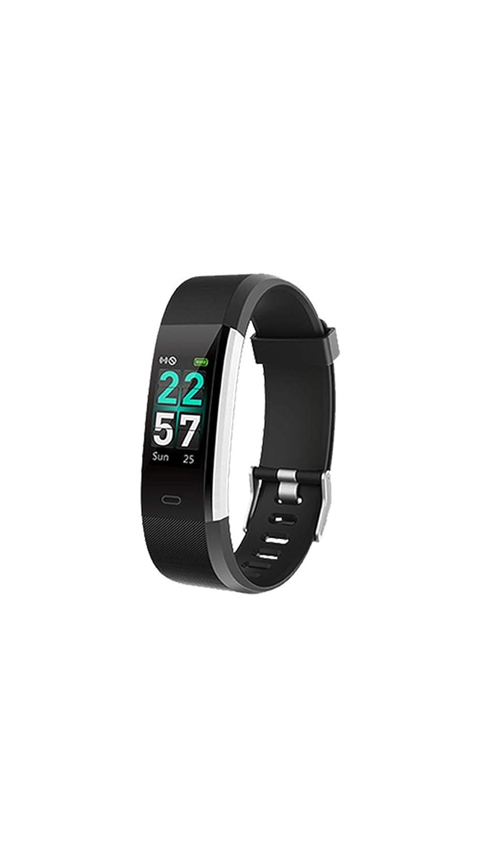 カラースクリーンブレスレット多機能スポーツ腕時計スマート防水心拍数監視情報リマインダーブレスレットランニングフィットネス B07PHP3S39 Black