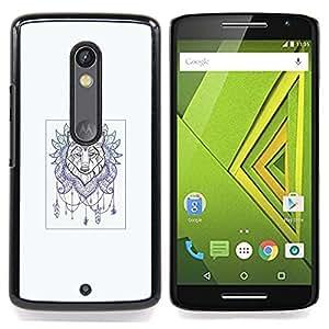For Motorola Verizon DROID MAXX 2 / Moto X Play - Wolf Dream Catcher - Tattoo Art /Modelo de la piel protectora de la cubierta del caso/ - Super Marley Shop -