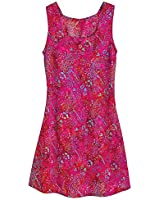 Women's Sunset Reflection Batik Pink Sleeveless Dress