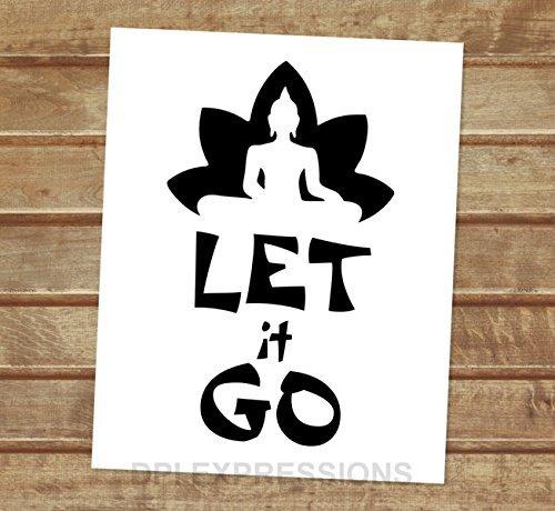 Amazoncom Let It Go Zen Art Print Buddha Lotus Flower