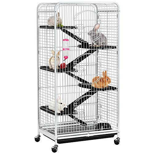 Yaheetech 52-inch 6 Level Large Metal Ferret Cage and Habitats Small Animal Hutch with 3 Front Doors/Feeder/Wheels for Bunny Chinchilla Squirrels Indoor Outdoor -White from Yaheetech