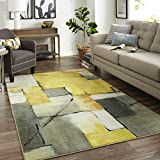 Mohawk Home Z0185 A432 096120 EC Prismatic Painted Geo Abstract Patchwork Printed Contemporary Area Rug, 8'x10′, Yellow