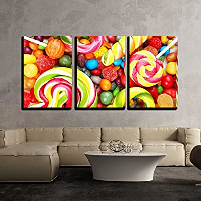 Grand Expert Craftsmanship, Different Fruit Candies Background x3 Panels, With Expert Quality