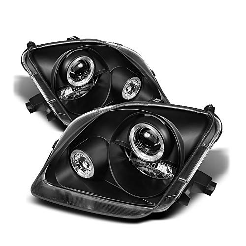 [For 1997-2000 Honda Prelude] LED Halo Ring Black Housing Projector Headlight Headlamp Assembly, Driver & Passenger ()
