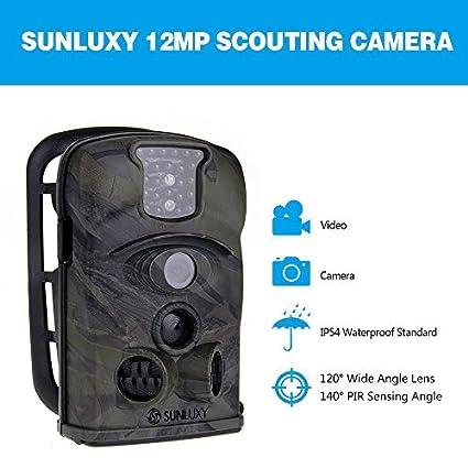 SUNLUXY® Cámara de caza de 12MP cámara impermeable gran angular de 140 ° Pantalla de