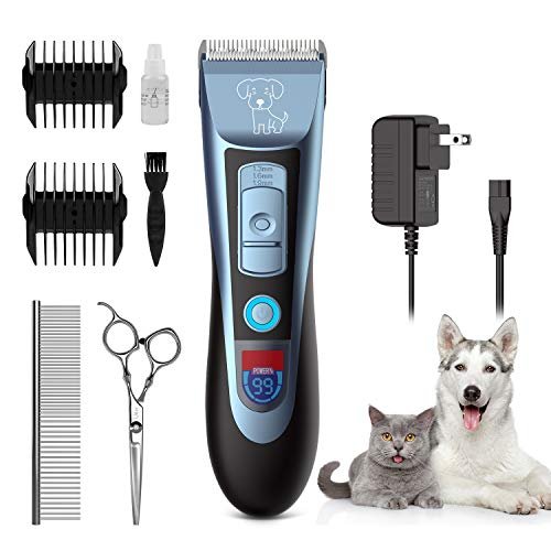 Uiter Dog Clippers Grooming Clippers Kit Low Noise Rechargeable Cordless Quiet Dog Shave Clippers for Dogs Cats Pets Professional Electric Dog Trimmers Clippers Set