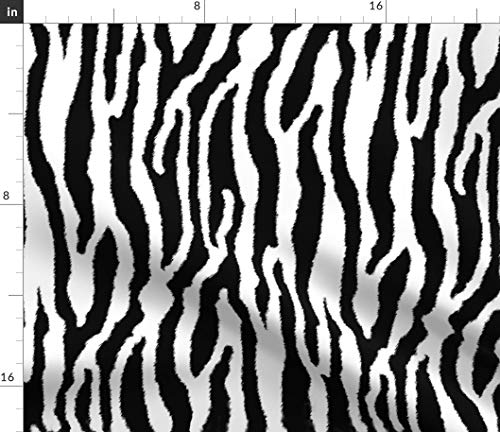 (Spoonflower Zebra Fabric - Or White Tiger Stripes Horse Fur Wildcat Zoo Print on Fabric by The Yard - Chiffon for Sewing Fashion Apparel Dresses Home Decor)