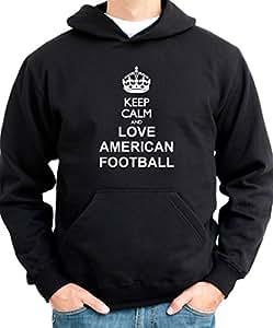 Keep Calm and Love fútbol americano sudadera con capucha para hombre negro small