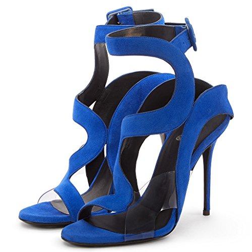 Amy Stiletto Chaussures Ankle Q Sexy Ouvrez Pour Femme Talon Party Toe Boucle Sandales Haut Strap Bleu Gladiateur Dress Soir¨¦e xxTawX