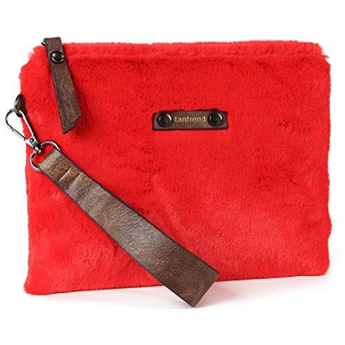 Bolso de mano mujer de pelo corto en rojo, bolso de mano tipo clutch, bolso pequeño ideal para tus fines de semana. Bolso piel sintética en oferta.