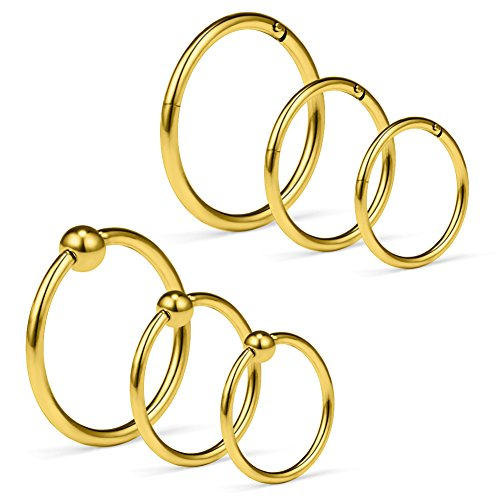 SCERRING 6PCS 16G Captive Bead Rings & Hinged Seamless Septum Nose Ring Hoop Ear Lip Piercing Clicker Rings 8-12mm - Gold