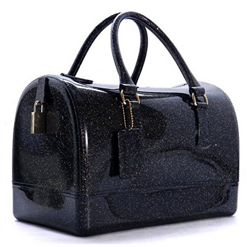 Black Boston Bag - Abbie Brown Glitter Candy Jelly Bag Tote Transparent Padlock Boston Bag Purse