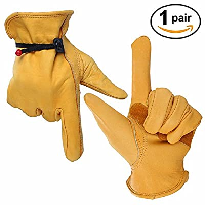 Bearhoho Mechanics Work Gloves Garden Glove with Ball and Tape Wrist Closure,Cowhide,Full Leather,for Gardening ,Welding,Gass