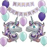 Unicorn Birthday Party Supplies- 32inch Huge Unicorn Balloons Happy Birthday Banner 12inch Latex Balloons Kit for Kids Birthday Decorations