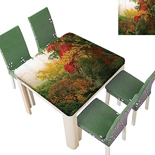 Printsonne Fitted Polyester Tablecloth  Maple Trees in The ll Portland Japanese Garden Foggy Morning Washable for Tablecloth 52 x 52 Inch ()