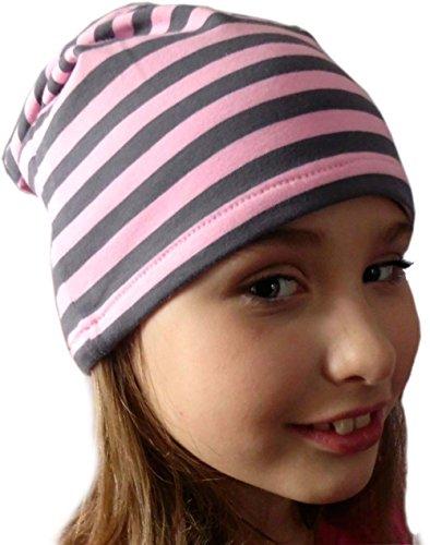 Beanie gorro rayas/EN 7Tamaños Designs/Niños y Adultos rosa y gris