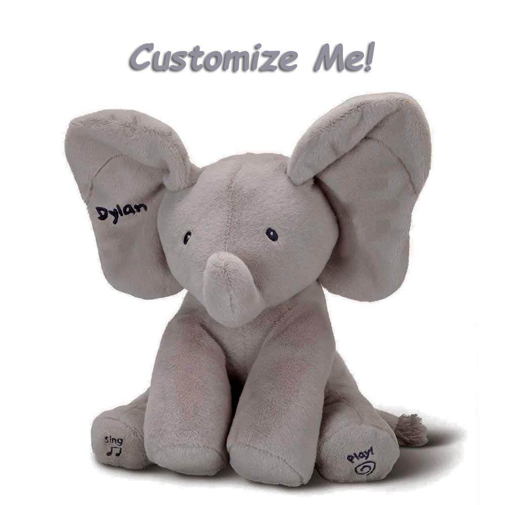GUND Flappy Custom Elephant Plush- Personalized Toy, Adorable Singing Animated Toy, Soft and Huggable Stuffed Animal with Flappy Ears, Safe for Children, Interactive with Sound, Appropriate for All by GUND.