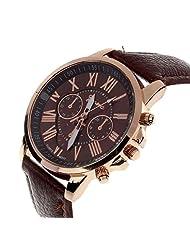 TOOPOOT(TM) Women's Roman Numerals Faux Leather Analog Quartz Watch (Brown)