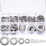 Tatuo 610 Pieces Flat Washers Stainless Steel Washers Sealing Ring Washers Assortment Set (M2 M2.5 M3 M4 M5 M6 M8 M10 M12) in Grid Storage Box