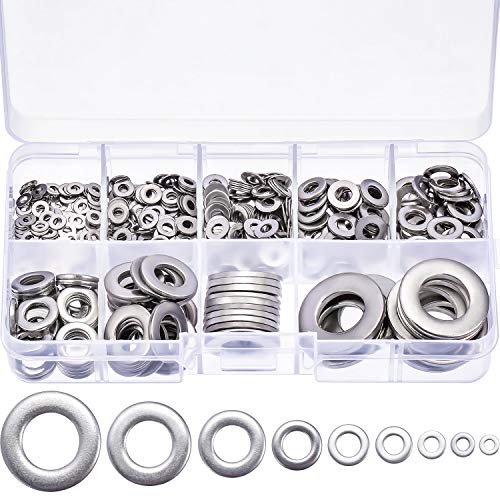 Tatuo 610 Pieces Flat Washers Stainless Steel Washers Sealing Ring Washers Assortment Set (M2 M2.5 M3 M4 M5 M6 M8 M10 M12) in Grid Storage Box by Tatuo